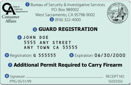 CALIFORNIA SECURITY GUARD CARD