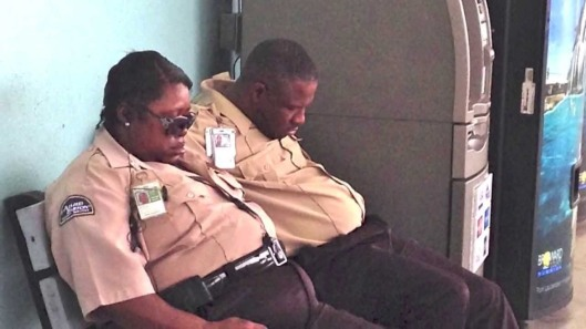 alliedbarton security guard sleeping