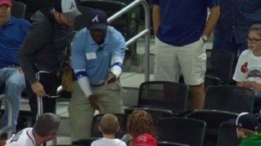 Braves Security Guard Snatches Ball From Child