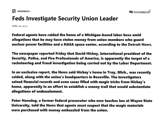 SPFPA FBI Investigation, SPFPA Racketeering, SPFPA Dave Hickey, SPFPA Investigation