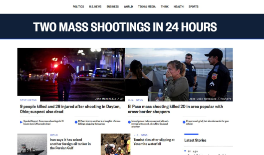 TEXAS El Paso shooting, Mass shooting at Dayton Ohio bar